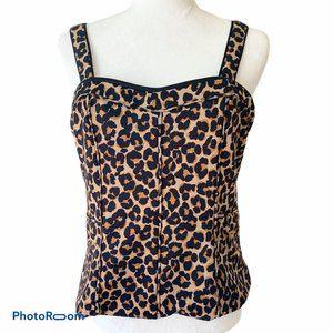 White House Black Market 14 Bodice Top Leopard